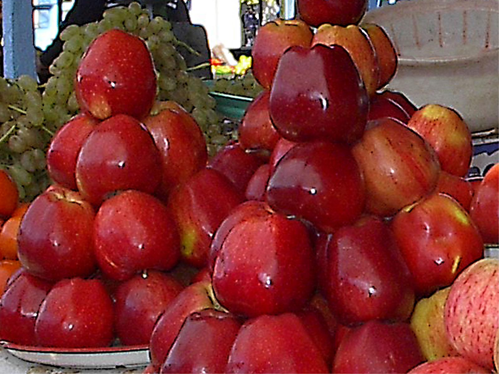 用水果冬枣做的动物造型